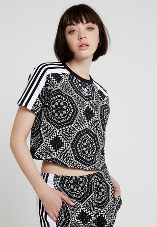 CROP TEE - Camiseta estampada - black