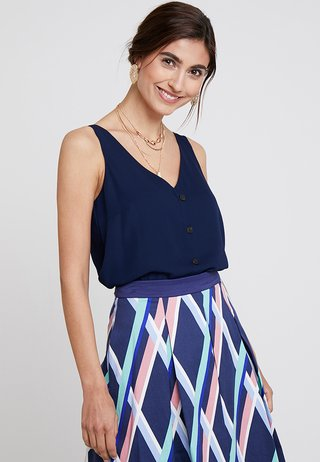 BUTTON THROUGH CAMI - Bluser - dark blue