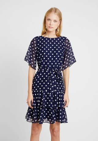 POLKA DOT TWO TIERED FIT AND FLARE NAVY EXCLUSIVE DRESS - Day dress - navy