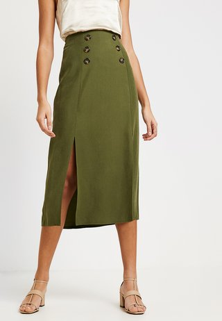 CUPRA BUTTON SKIRT - A-line skirt - khaki