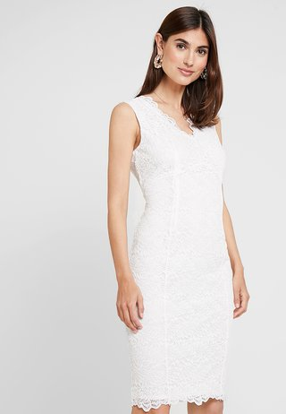 SCALLOP V NECK SHIFT - Vestito elegante - ivory