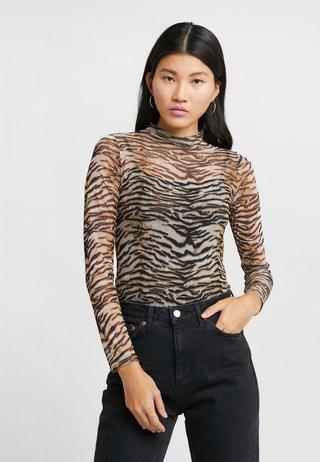 TIGER MESH HIGH NECK - Maglietta a manica lunga - beige