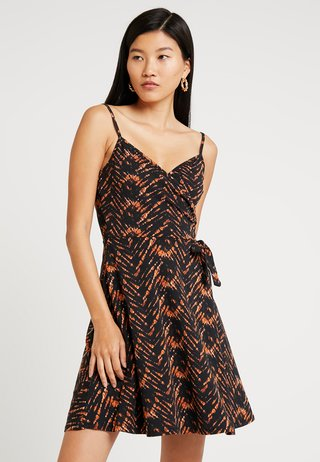 TIGER STRAPPY WRAP - Jersey dress - black