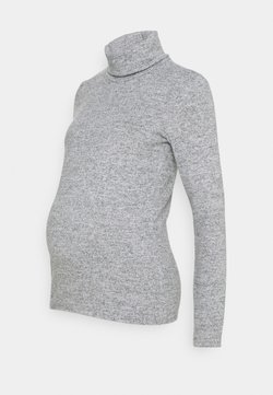 Pieces Maternity - PCMPAM HIGH NECK - Strickpullover - light grey melange