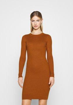 Even&Odd - Knitted jumper mini high neck dress - Vestido de tubo - brown
