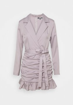 Missguided Petite - RUCHED FRILL BLAZER DRESS - Cocktail dress / Party dress - grey