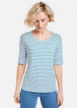 Gerry Weber - 1/2 ARM GERINGELTES - T-Shirt print - ecru/weiss/blau ringel