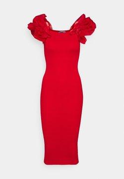 Missguided Petite - PUFF ORGANZA SLEEVE MIDAXI DRESS - Vapaa-ajan mekko - red