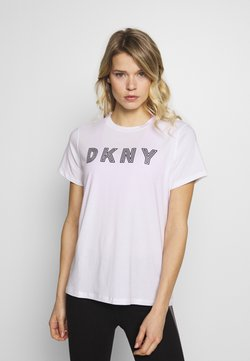 DKNY - TRACK LOGO - Printtipaita - white