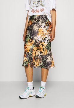Never Fully Dressed - BLOOM PRINT SLIP SKIRT - Kokerrok - navy/multi