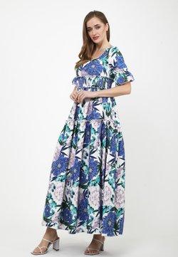 Madam-T - SALAMEA - Maxikleid - weiß, kornblumenblau