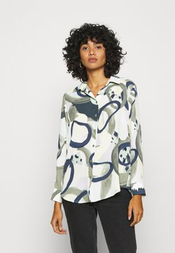Monki - ASSA BLOUSE - Koszula - khaki green/dusty light khakiart