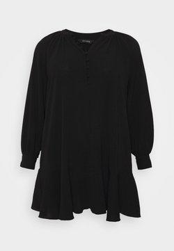 Evans - PEPLUM HEM BUTTON DRESS - Freizeitkleid - black