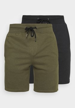 Pier One - 2 PACK - Shorts - black/olive