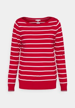 Tommy Hilfiger - BOAT NECK  - Strickpullover - primary red/optic white
