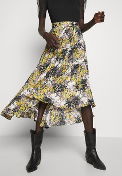 Topshop Tall - FLORAL CRYSTAL TIE PLEAT - A-line skirt - ivory