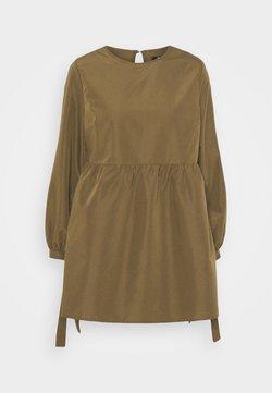 Missguided Petite - TIE CUFF SMOCK DRESS - Vestido informal - khaki