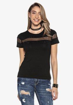 Cipo & Baxx - MIT LOGO PAILLETTEN  - T-Shirt print - schwarz
