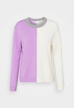 CHINTI & PARKER - CONTRAST HALF AND HALF SWEATER - Stickad tröja - lilac/cream/grey