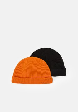Only & Sons - ONSSHORT BEANIE 2 PACK - Mütze - black/neon orange