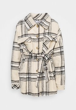 Missguided Tall - CHECK BELTED SHACKET - Kurzmantel - cream