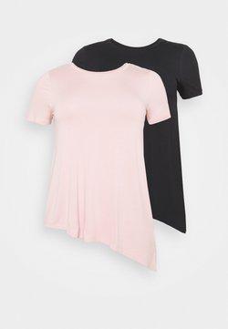 Even&Odd Curvy - 2 PACK - T-Shirt basic - black/light pink
