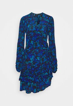 River Island - RUFFLE HEM TEA DRESS - Freizeitkleid - blue