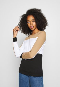Noisy May - NMPANA BLOCKING NEW  - Sweatshirt - black/ligh tbrown/white