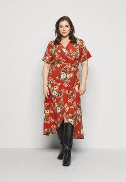 New Look Curves - HI LO FLORAL DRESS - Freizeitkleid - red