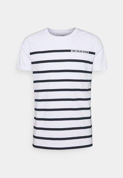 TOM TAILOR DENIM - STRIPE - T-Shirt print - white