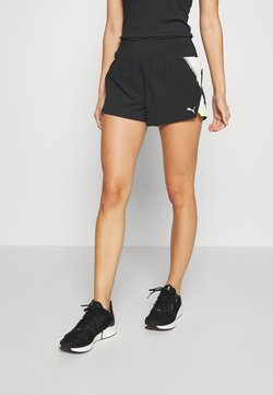 Puma - RUN LITE SHORT - Pantalón corto de deporte - black/fizzy yellow