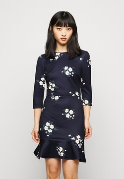 True Violet Petite - MINI DRESS WITH FRILL HEM - Vestido informal - navy floral