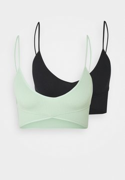 Cotton On Body - SEAMFREE BALLET BRALETTE 2 PACK - Bustier - black/mint