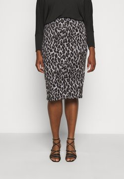 CAPSULE by Simply Be - LEOPARD PRINT MIDI TUBE SKIRT - Bleistiftrock - black/grey