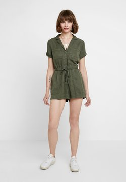 Abercrombie & Fitch - SHORT SLEEVE UTILITY ROMPER - Combinaison - olive