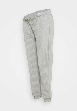 MAMALICIOUS - MLNICOLE PANTS - Jogginghose - light grey melange/white