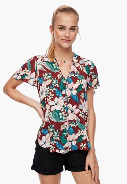 Q/S designed by - MIT ALLOVER-PRINT - Bluse - rust big flowers aop
