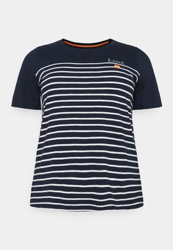 MY TRUE ME TOM TAILOR - STRIPED CHEST EMBRO - T-Shirt print - sky captain blue