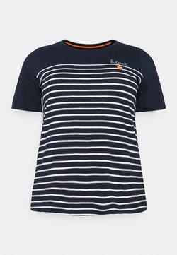MY TRUE ME TOM TAILOR - STRIPED CHEST EMBRO - T-Shirt print - sky captain blue