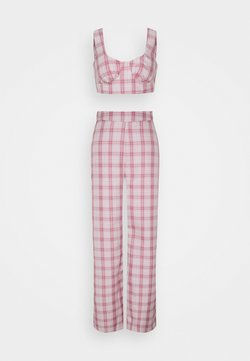 Missguided Tall - GINGHAM BRALET AND WIDE LEG  - Toppi - pink