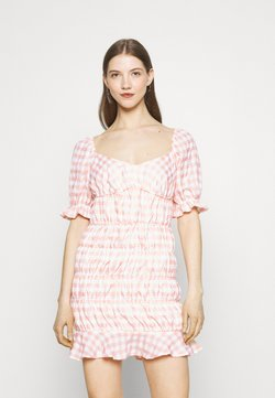 Missguided - CHECK FRILL CUFF RUCHED MINI DRESS - Freizeitkleid - pink