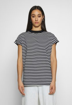 Weekday - PRIME STRIPE - T-shirt con stampa - black/white