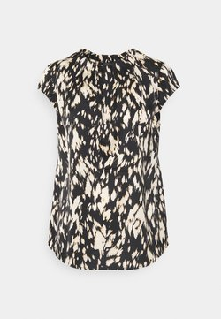 comma - KURZARM - T-Shirt print - black/beige