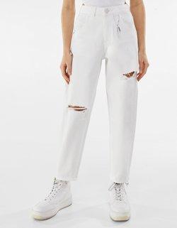 Bershka - Straight leg -farkut - white