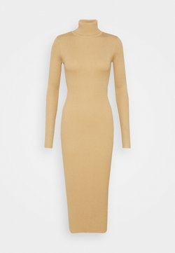 Missguided Tall - ROLL NECK KNITTED MIDI DRESS - Vestido de punto - camel