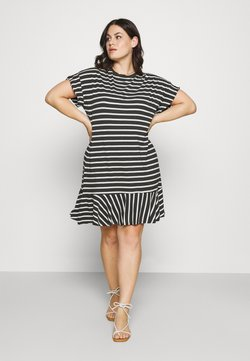 CAPSULE by Simply Be - HEM DRESS - Jerseykleid - black/white