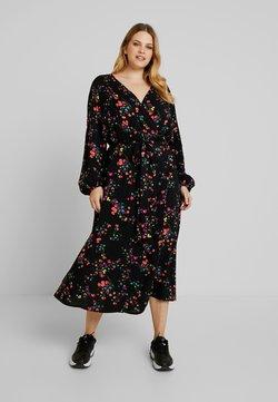 MY TRUE ME TOM TAILOR - WRAP DRESS WITH FLORAL - Freizeitkleid - black floral design
