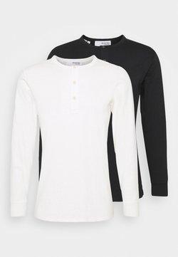 Selected Homme - SLHBAKER SPLIT NECK 2 PACK - Pitkähihainen paita - black/egret