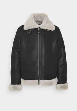 Schott - Leather jacket - black/offwhite