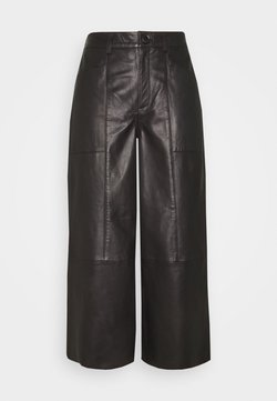 Cream - CAMMI PANTS - Leather trousers - pitch black